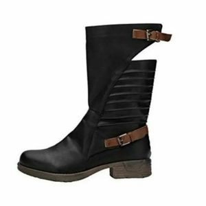 NEW MID-CALF BUCKLED LEATHER BOOTS